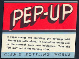 #ZLS195 - Pep-Up Soda Bottle Label - As Low as 25¢ each