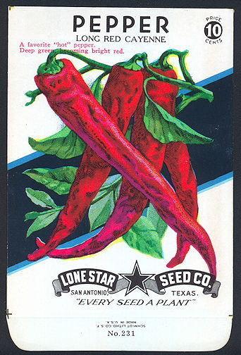 #CE070.1 - Group of 12 Brilliantly Colored Long Red Cayenne Pepper Lone Star 10¢ Seed Packs