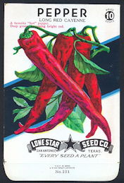 #CE070 - Brilliantly Colored Long Red Cayenne Pepper Lone Star 10¢ Seed Pack - As Low As 50¢ each
