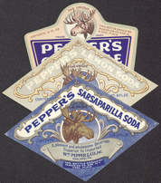 #ZLS130 - Group of 3 Different very old Pepper's Soda Labels with Moose