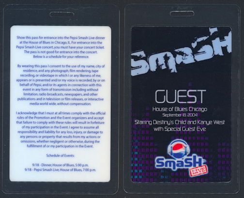##MUSICBP0299  - 2002 Laminated OTTO Guest Backstage Pass for the 2004 Pepsi Smash Concert that Featured Destiny's Child and Kanye West