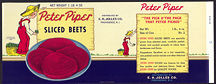 #ZLCA182 - Rare Peter Piper Sliced Beets Can Label