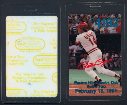 #BA716 - Rare Pete Rose Hit #4192 Laminated Pass for Stag Honoring Rose when Snubbed by Hall of Fame - As low as $5 each