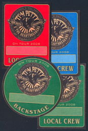 ##MUSICBP0233 - Four Different Tom Petty and the Heartbreakers OTTO Cloth Backstage Passes from the 2008 Tour