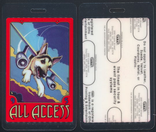 ##MUSICBP0237 - 1995 Tom Petty and the Heartbreakers Laminated Backstage Pass from the Dogs with Wings Tour - Dog with Airplane Wings
