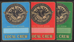 ##MUSICBP0233 - Three Different Colored Tom Petty and the Heartbreakers OTTO Cloth Backstage Crew Passes from the 2008 Tour