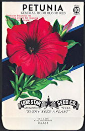 #CE023.1 - Group of 12 Brilliantly Colored General Dodd Blood Red Petunia Lone Star 10¢ Seed Packs