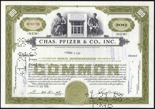 #ZZCE046 - Chas. Pfizer & Co. Inc. Stock Certificate