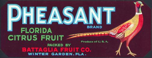 #ZLCA*026 - Pheasant Florida Citrus Fruit Crate Label
