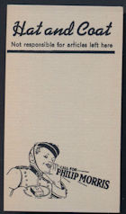 #TOP061 - Group of 4 Philip Morris Hat and Coat Check Cards