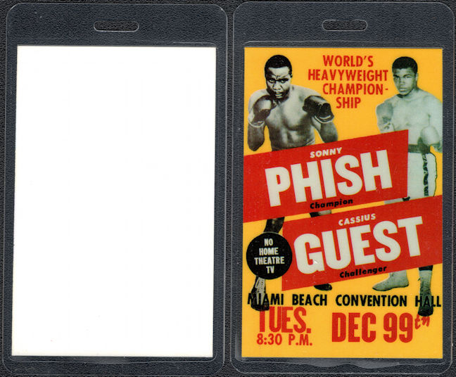 ##MUSICBP0423 - Rare Phish OTTO Laminated Guest Backstage Pass Picturing Cassius Clay and Sonny Liston