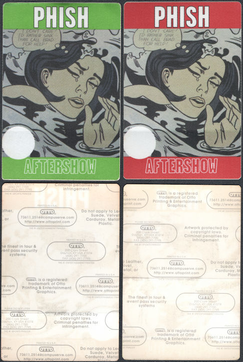 ##MUSICBP0778  - Uncommon Pair of PHISH Cloth Aftershow Backstage Passes Featuring the Art of Roy Lichtenstein