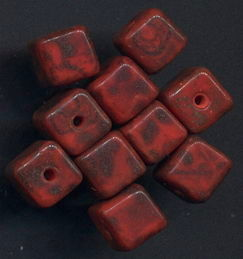 #BEADS0801 - Group of 10 Spectacular Czech Picasso Glass Cube Bead - Rare Reddish Colors