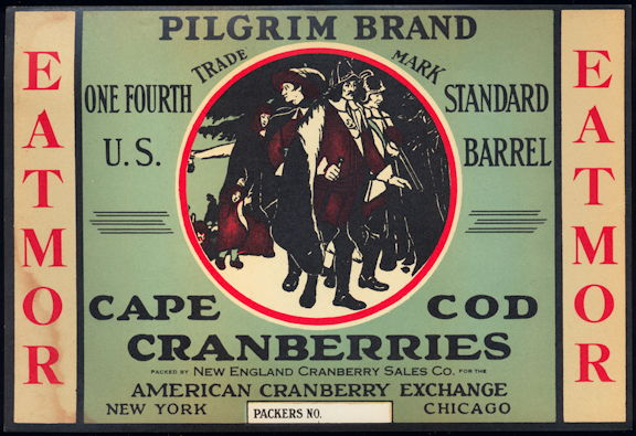 #ZLC437 - Pilgrim Brand Cape Cod Cranberries Barrel Label