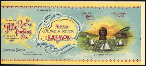 #ZLCA193 - Pillar Rock Columbia River Salmon Can Label