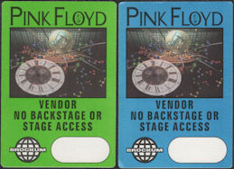 ##MUSICBP0854 - Pair of Two Different Colored Pink Floyd OTTO Cloth Vendor Passes from the 1994 Division Bell Tour