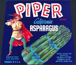 #ZLC395 - Rare Piper California Asparagus Crate Label - Pied Piper Pictured