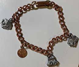 #BEADS882 - Pirate Theme Copper Charm Bracelet with Charms - Treasure Chests and Coins