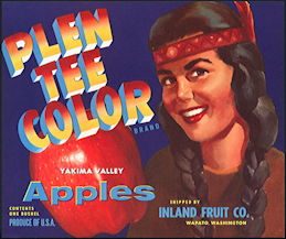 #ZLC415 - Plen Tee Color Apple Crate Label with Indian Maiden - Blue Version