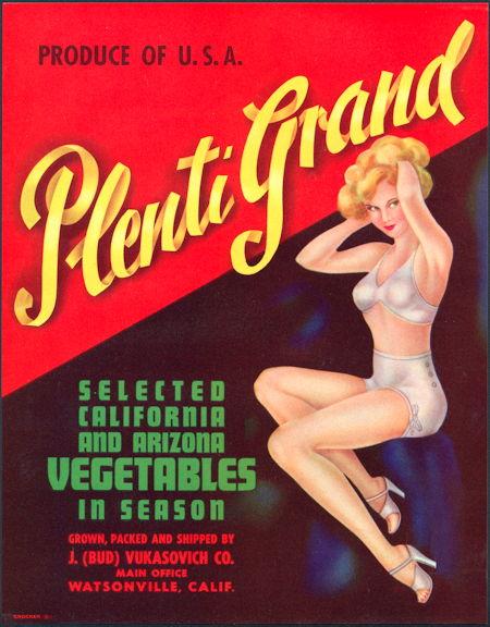 #ZLC179 - Plenti Grand Pinup Vegetable Crate Label