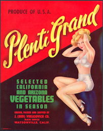 #ZLC179 - Plenti Grand Pinup Vegetable Crate Label
