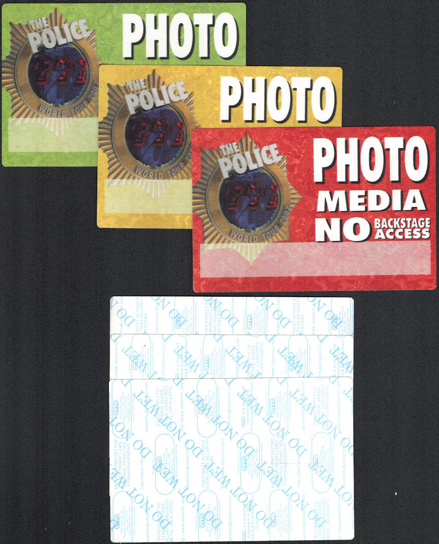 "##MUSICBP0332 - Group of 3 Different Colored Huge Oversized OTTO Cloth ""The Police"" Photo/Media Pass from the 2007 World Tour"