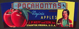 #ZLCA*062 - Rare Pocahontas Apples Crate Label