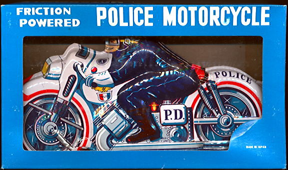 #TY025 - Large Tin Toy Friction Police Motorcycle in Original Box