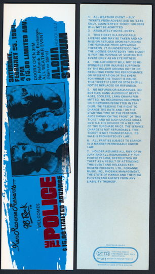 """##MUSICBPT0021 -  1984 The Police Ticket from the """"Synchronicity"""" Tour at Aloha Stadium"""