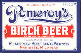 #ZLS242 - Early Pomeroy's Birch Beer Soda Bottle Label