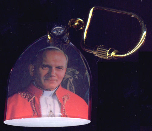 #CH319 - Early Well Made Pope John Paul II Keychain (Now St. John Paul the Great) - As Low As 25¢ each