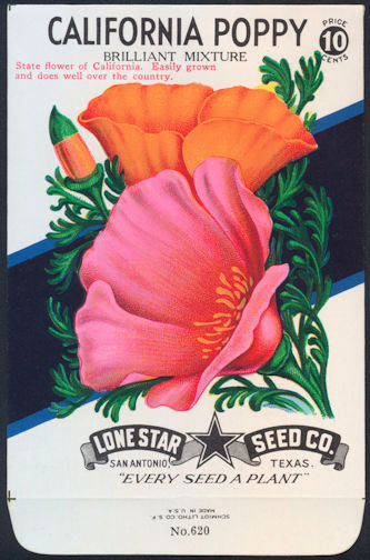 #CE026 - Brilliantly Colored Stone Litho Lone Star California Poppy 10¢ Seed Pack - As Low As 50¢ each