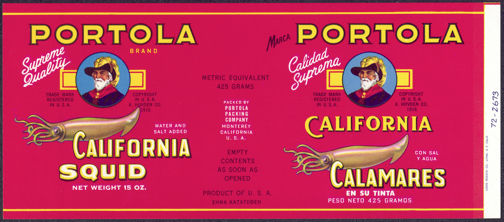 #ZLCA130 - Portola California Squid Can Label