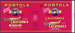 #ZLCA130 - Portola California Squid Can Label