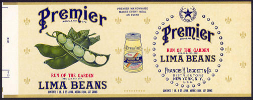 #ZLCA175 - Premier Run of the Garden Lima Beans Can Label