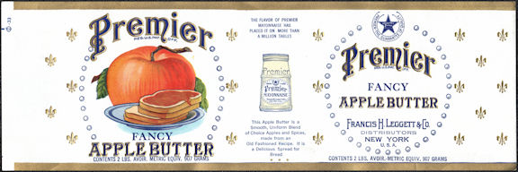 #ZLCA293 - Premier Fancy Apple Butter Can Label - Old Large Version