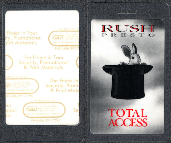 """##MUSICBP0701 - Uncommon Rush OTTO Laminated """"Total Access"""" Backstage Pass from the 1990 Presto Tour"""