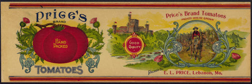 #ZLCA210 - Uncommon Turn of the Century Price's Tomatoes Can Label - Bear Hunt Image