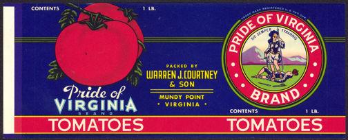 #ZLCA185 - Pride of Virginia Tomato Can Label