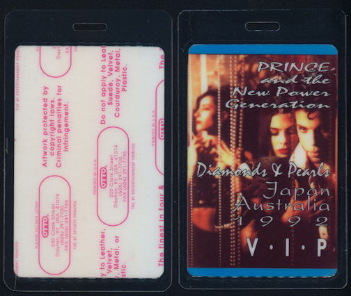 ##MUSICBP0274 - Uncommon Laminated OTTO Prince Backstage VIP Pass from the 1992 Diamonds & Pearls Australia/Japan Tour