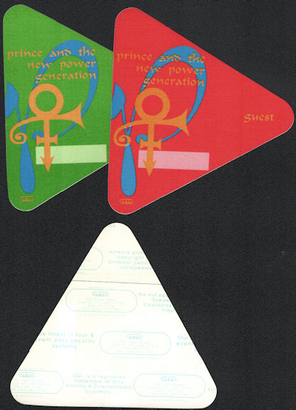 ##MUSICBP0657 - Pair of Prince and the New Power Generation OTTO Cloth Backstage Passes from the 1992 Diamond & Pearls Tour