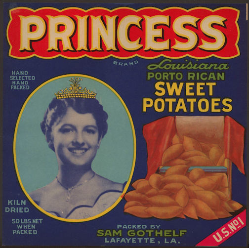 #ZLC348 - Princess Lousiana Porto Rican Sweet Potatoes Crate Label