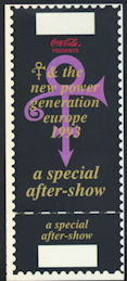 ##MUSICBPT0030 - Scarce Prince and the New Power Generation 1993 European Tour OTTO Party Pass/Ticket