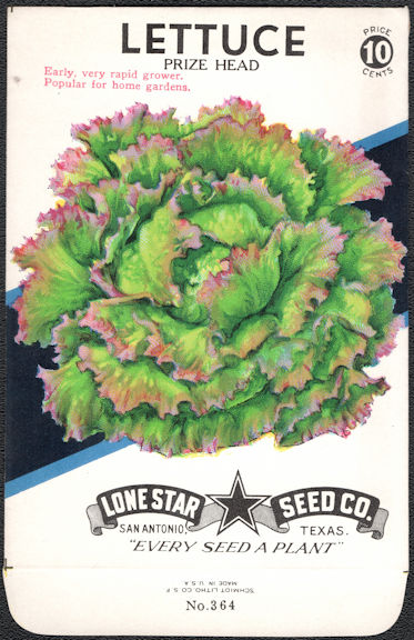 #CE059.1 - Prize Head Lettuce Lone Star 10¢ Seed Pack - As Low As 50¢ each