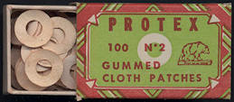 #CS349 - Full Box of Protex Gummed Cloth Patches with Bear - Deco Design