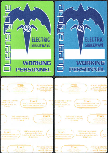 ##MUSICBP0177 - Pair of Different Colored Queensryche Working Personnel OTTO Cloth Backstage Passes from the 1999 Electric Shockwave Tour