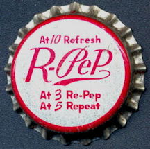 #BC144 - Group of 10 Cork Lined R-Pep Soda Bottle Caps