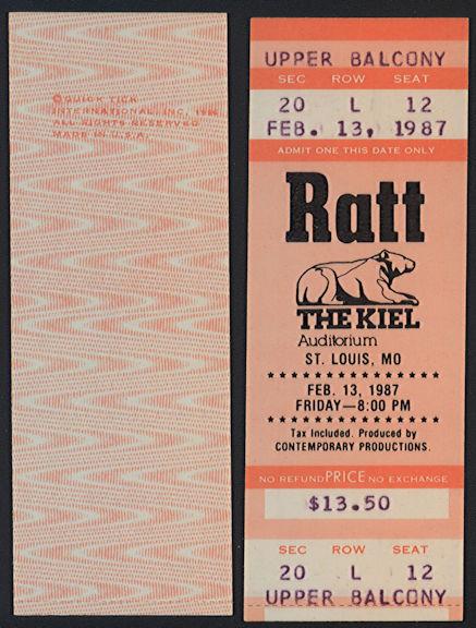 ##MUSICBPT0035 - 1987 Ratt Ticket from St. Louis Concert at Kiel Auditorium