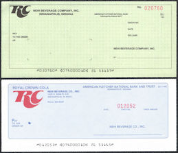 #ZZZ193 - Pair of Unused Royal Crown Nehi Beverage Company Checks