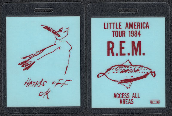 """##MUSICBP0582 - 1984 R.E.M. Laminated OTTO Backstage Pass from the """"Little America"""" Tour"""